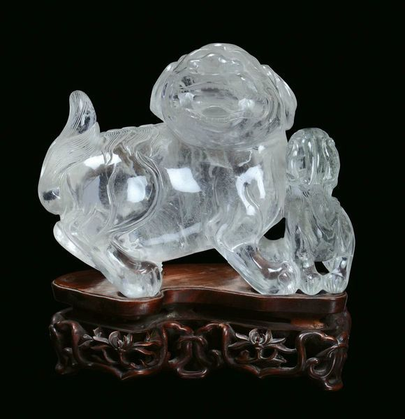 A rock crystal group representing Pho dogs with puppet, China, Qing Dynasty, 19th century