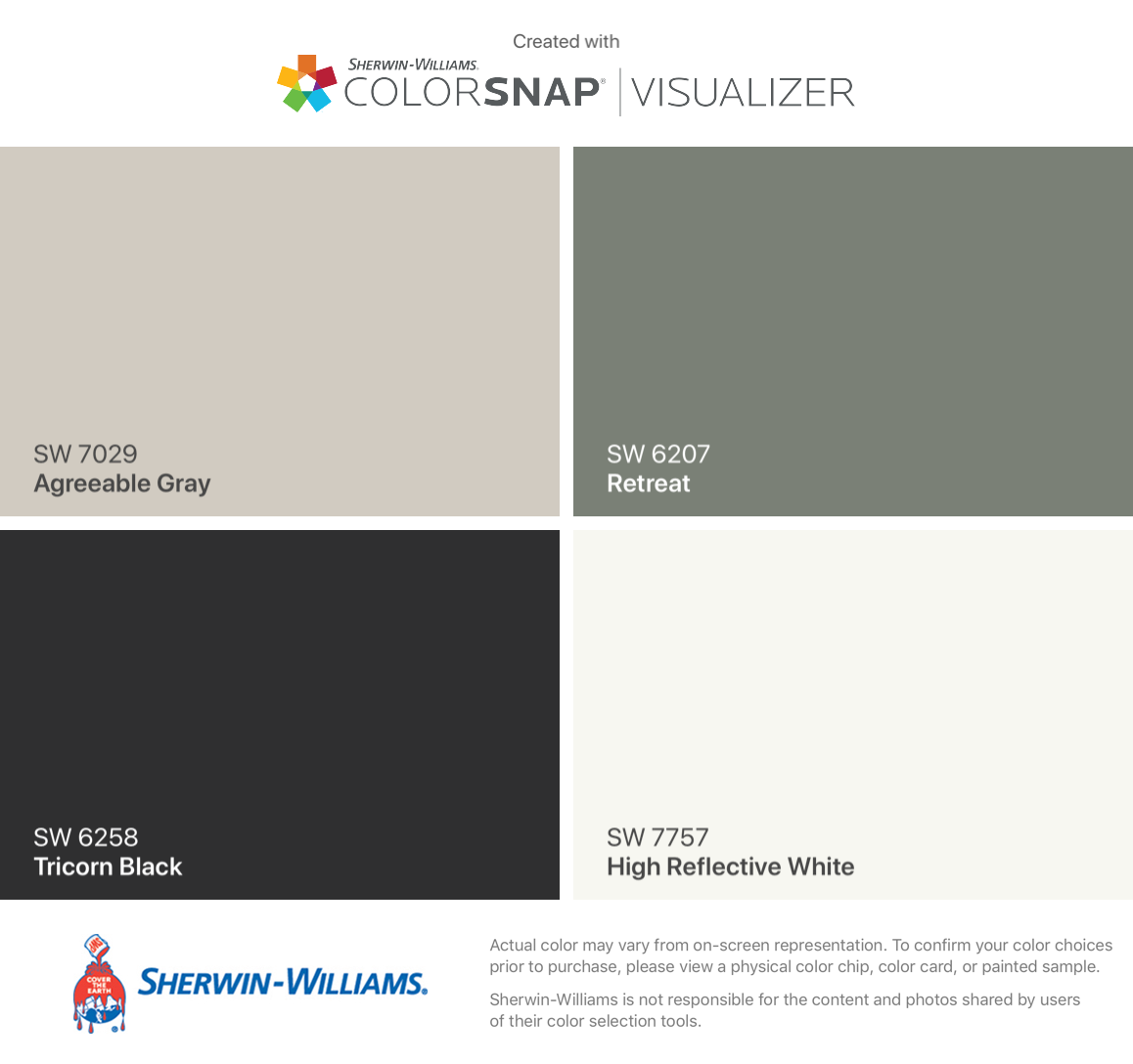 I found these colors with ColorSnap Visualizer for iPhone by Sherwin-Williams: Agreeable Gray (SW 7029), Tricorn Black (SW 6258), Retreat (SW 6207), High Reflective White (SW 7757).