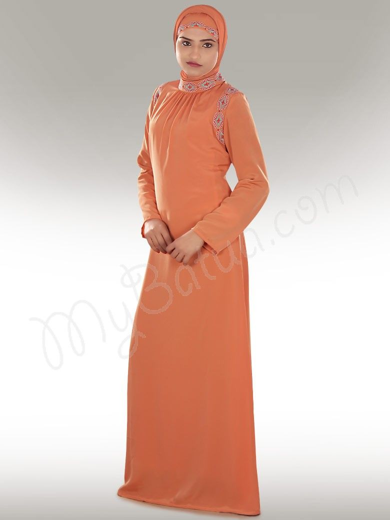 63a088ca11e Zunubiya Orange Abaya