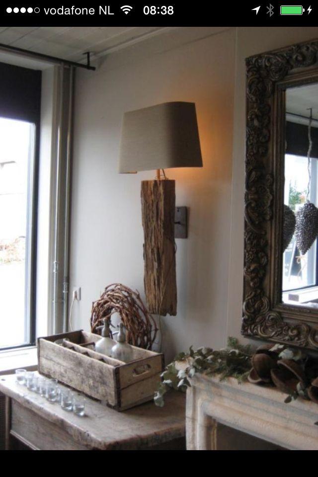 mooie oud eiken houten wandlamp drijfhout