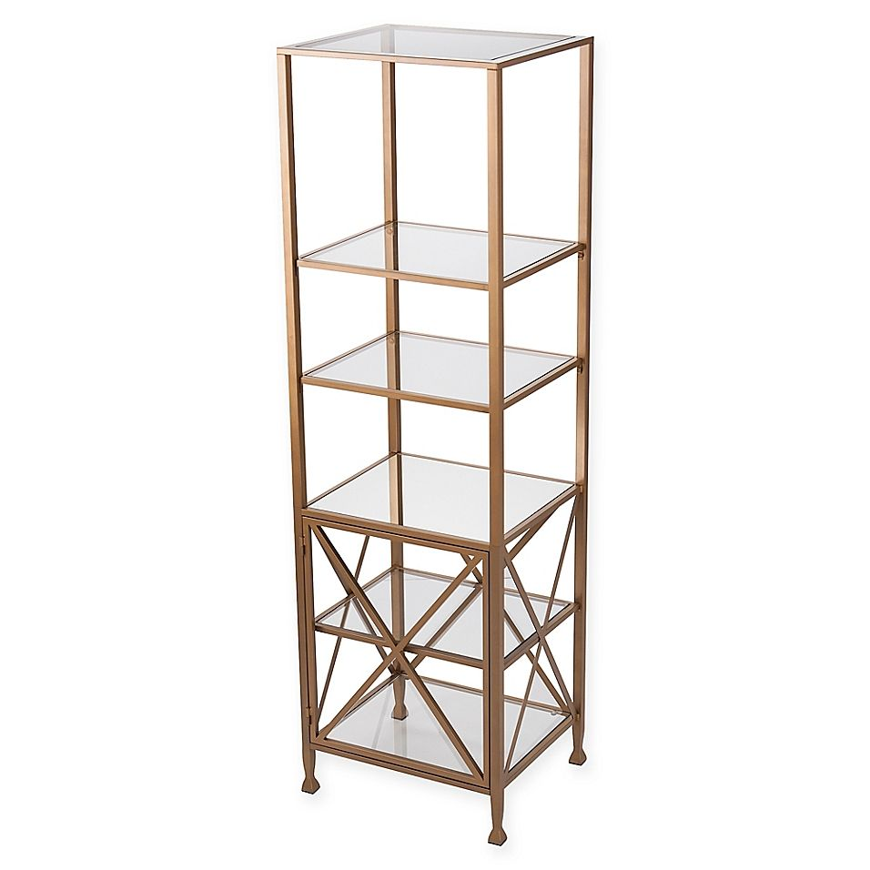 Southern Enterprises C Chayra Tall X Frame Bookcase In Gold