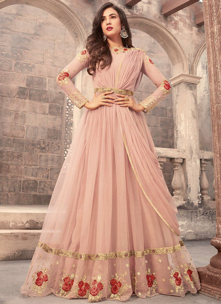 fedcaa3990 Rose Pink Embroidered Net Anarkali Suit features a beautiful net top  alongside a santoon bottom and