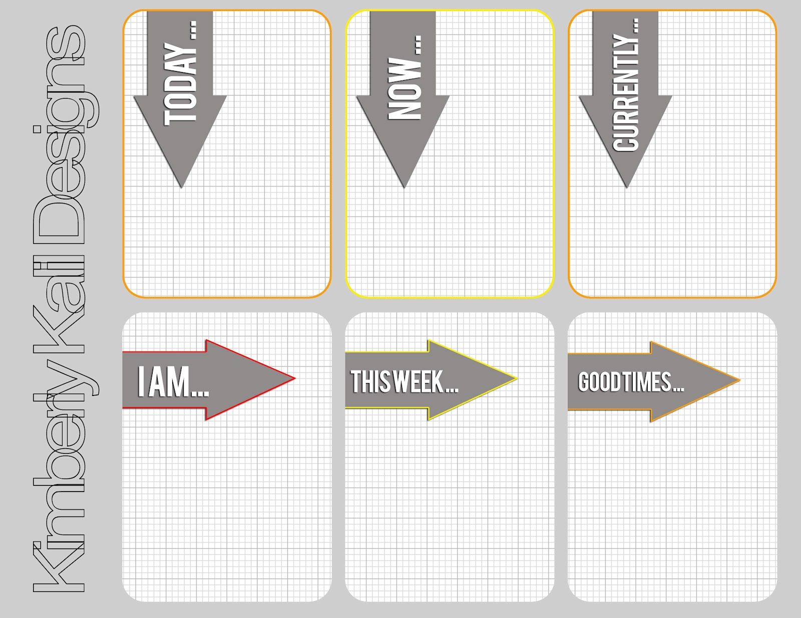 great printable journal cards for project life - love the grey grid and the arrows | This Kalil Life