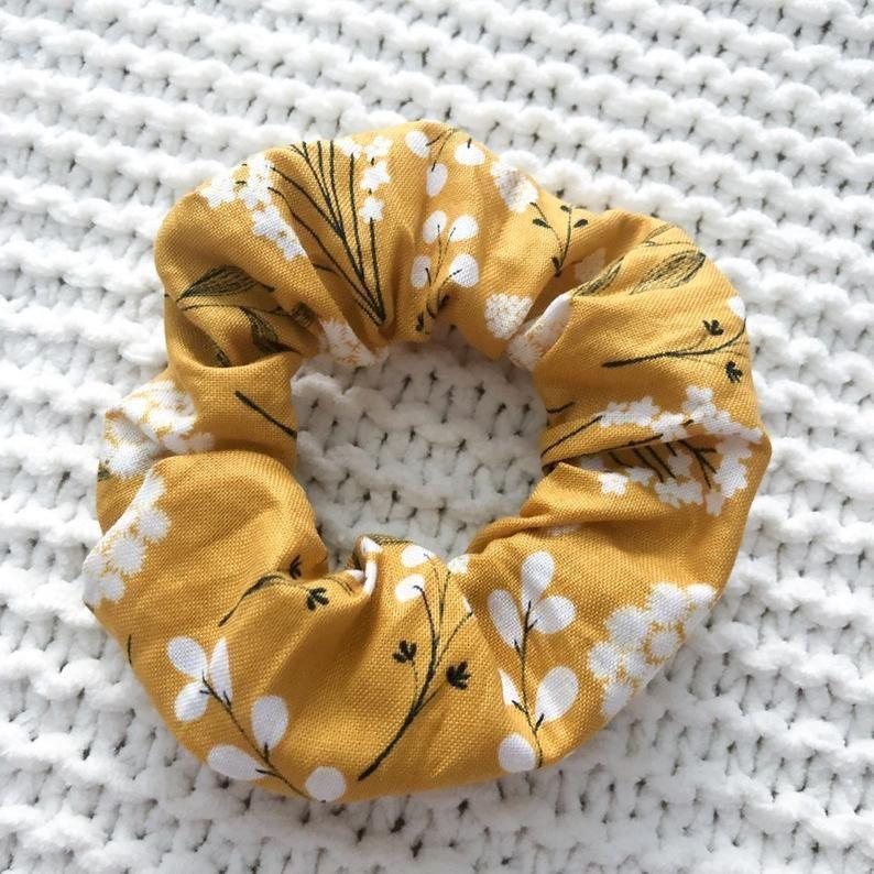Yellow Dot Scrunchie