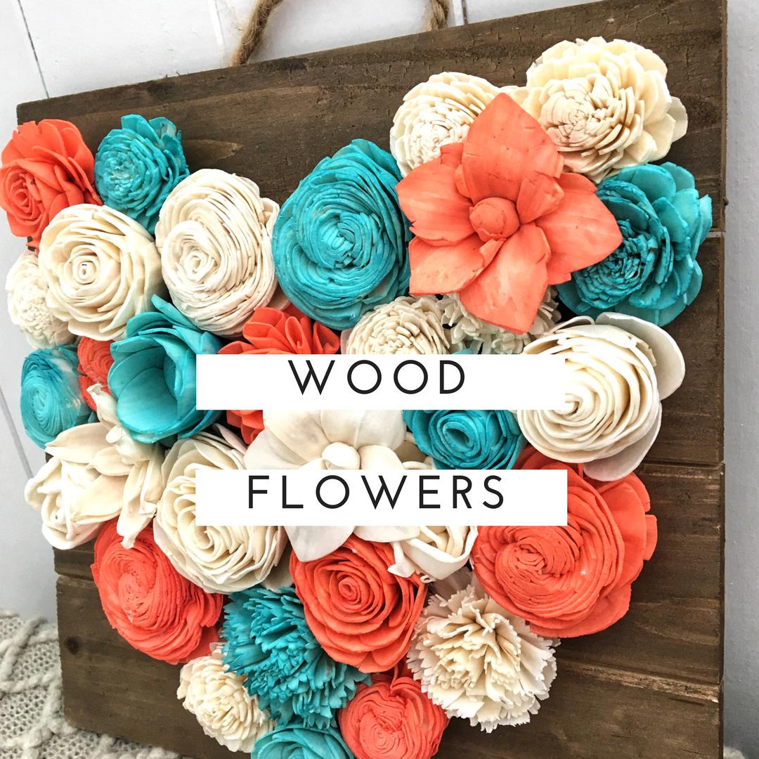 Coral, aqua, and ivory wood flowers. Wood flower heart