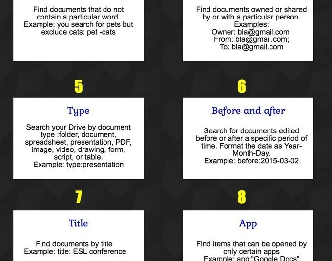8 Handy Google Drive Search Tips for Teachers via Educators - shared spreadsheet