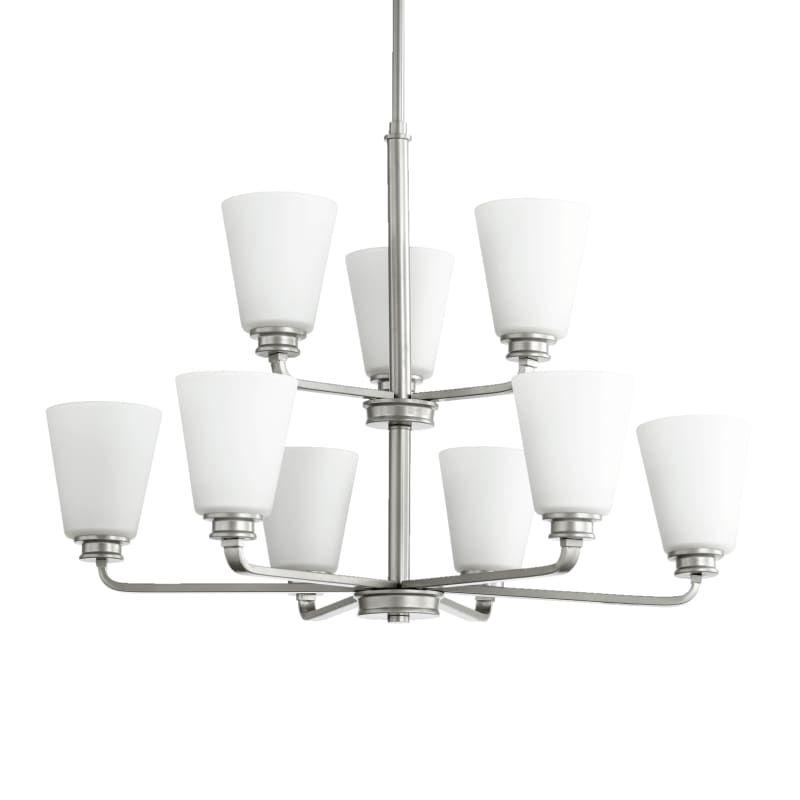 Quorum International 6002-9 Friedman 9 Light 2 Tier Chandelier Classic Nickel Indoor Lighting Chandeliers