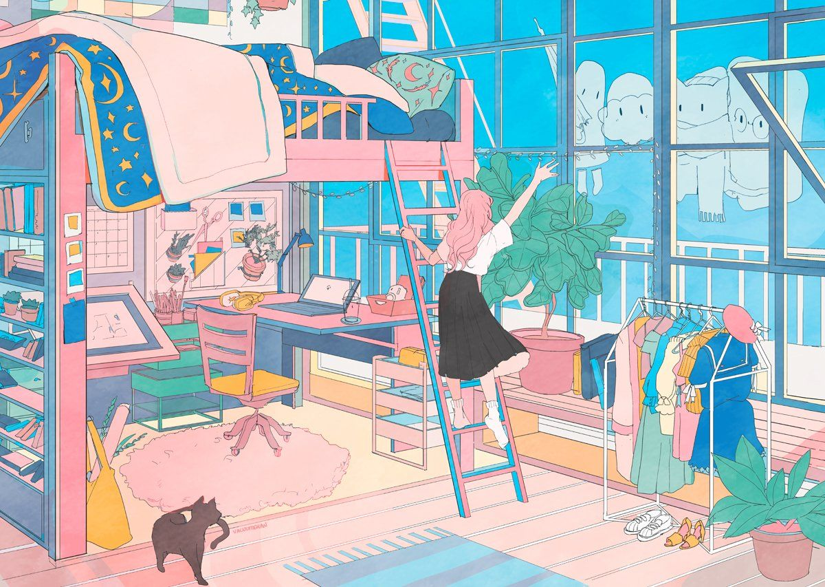 Vacuum On Twitter 06 See You Next Time Bedroom Drawing Aesthetic Anime Animation Art