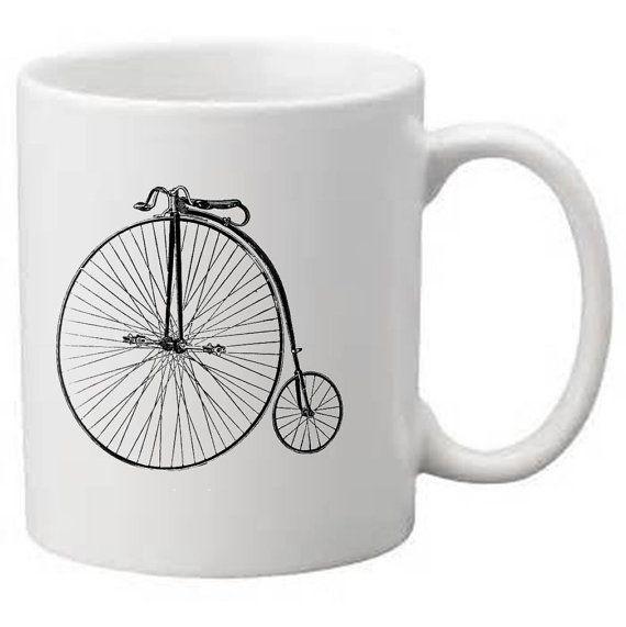 Custom coffee mug penny farthing bike by JenniferDareDesigns, $20.00