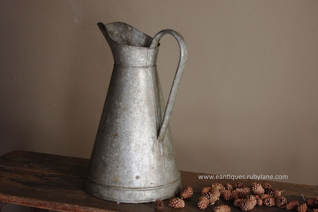 Vintage French Galvanized Zinc Body Pitcher - Antique Metal Water Jug from eantiques on Ruby Lane
