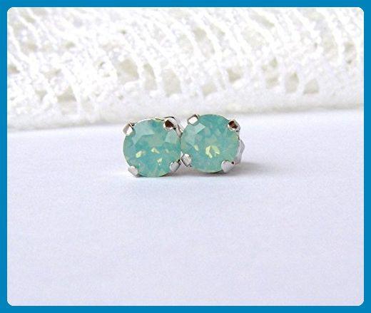 6mm Pacific green-blue rhinestone stud earrings made with Swarovski crystals - Wedding earings (*Amazon Partner-Link)