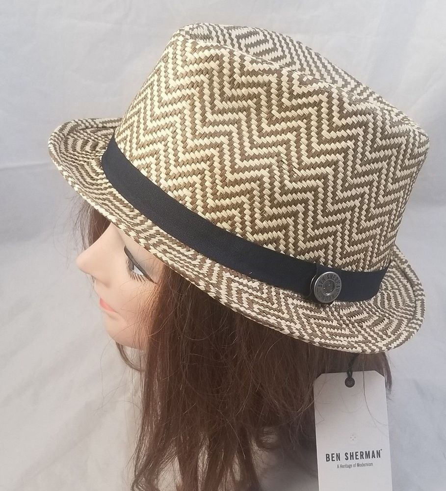 NWT  BEN SHERMAN Natural Brown ZigZag Trilby Hat Paper Straw Sz L XL Fedora   50  BenSherman  Trilby c770378b6b57
