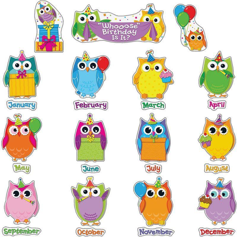 Colorful Owls Birthday Bulletin Board Set Good ideas Preschool
