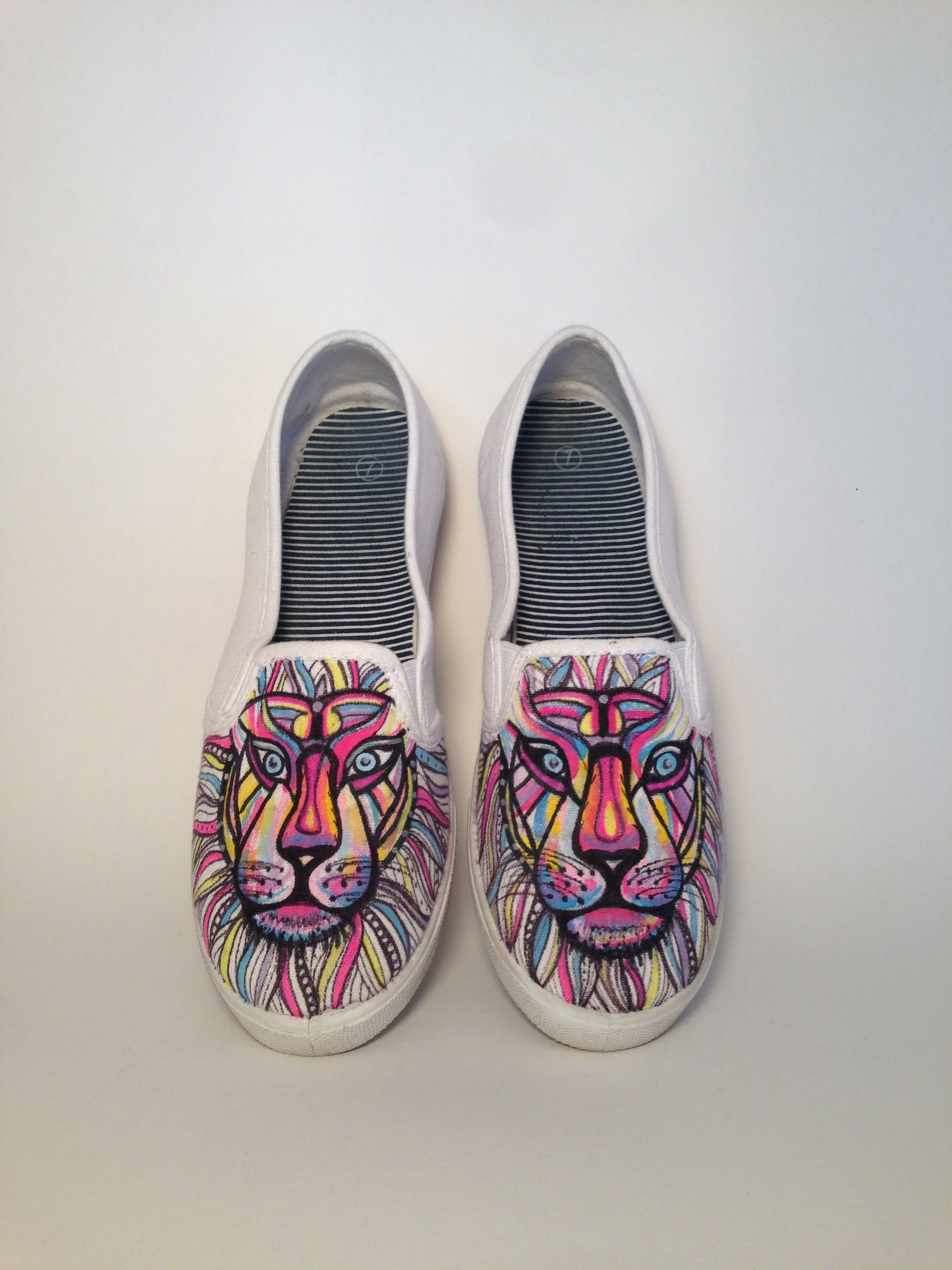 Lion Face Canvas Sneakers | Sharpie shoes, Painted shoes