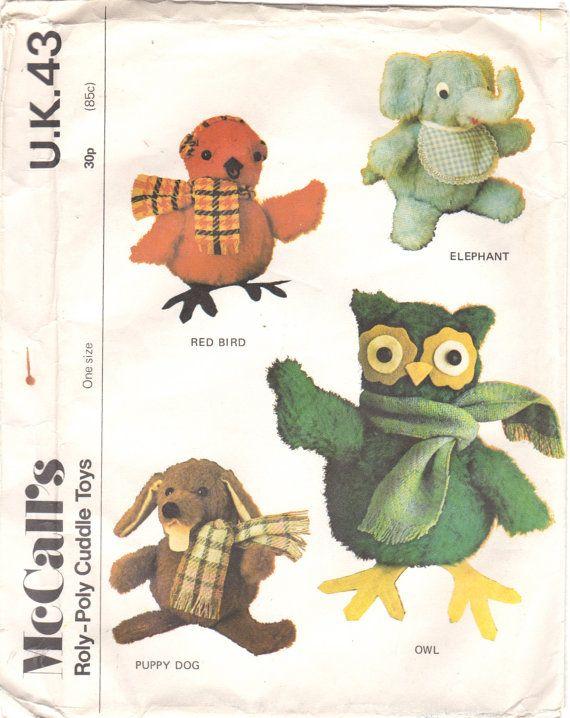 1970s McCalls 43 UK Stuffed Animals Pattern 7.5 Inch Red Bird ...
