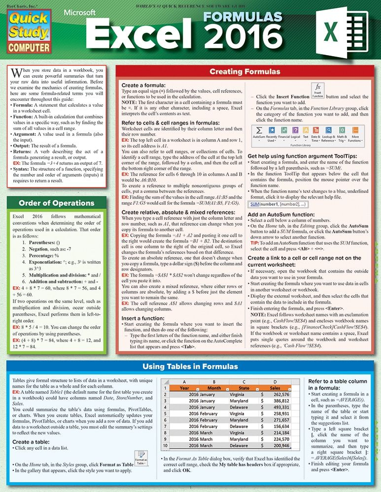QuickStudy Excel 2016 Formulas Laminated Reference Guide