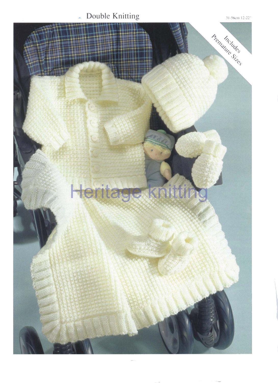61aaf60130f5 Baby pram set dk knitting pattern 99p pdf