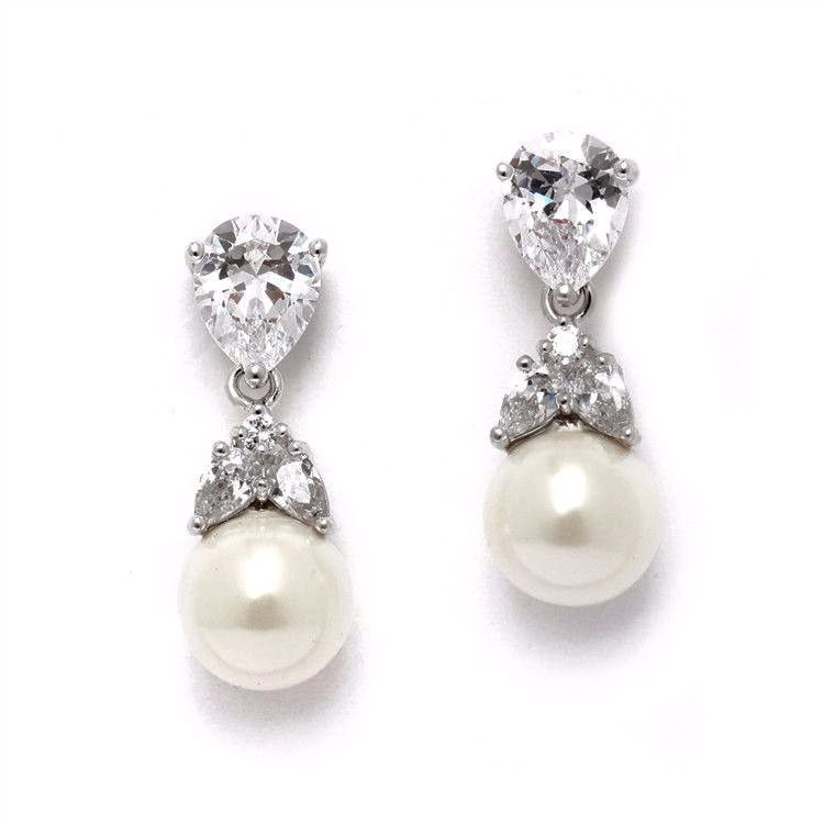 Mixed Pear Shaped Cz And Pearl Drop Earrings In Silver Pear And