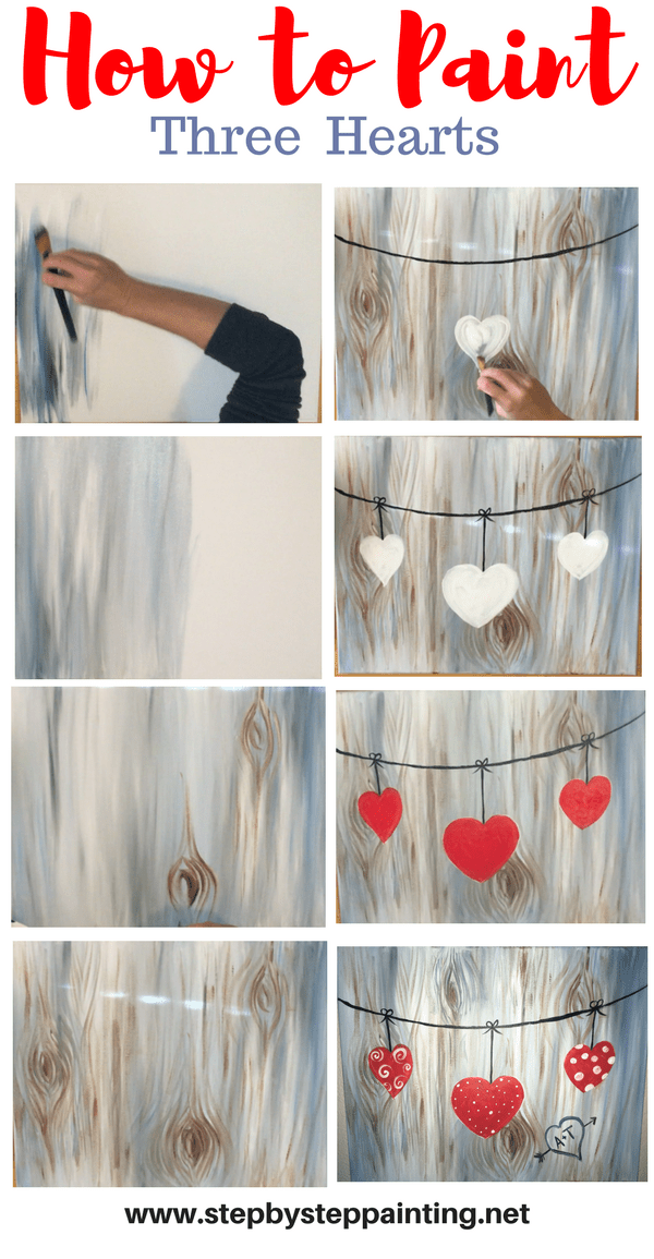How To Paint Hearts on A String Tracies Acrylic Canvas Tutorials