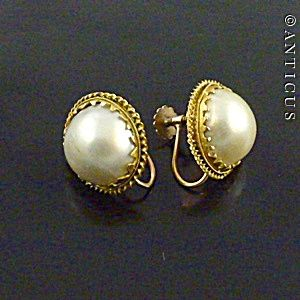 Large Blister Pearl Earrings Gold Mounts
