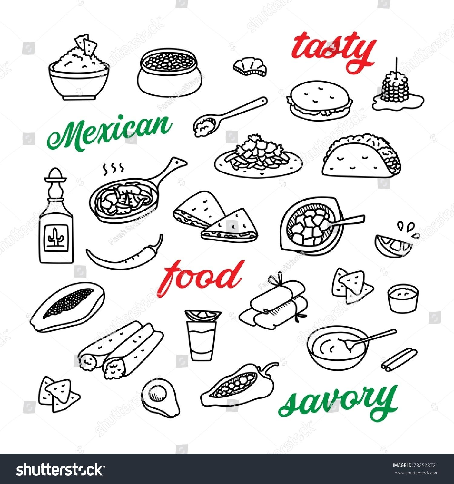 Mexican Cuisine Traditional Food Hand Drawn Doodle Icons Set With Tequila Quesadillas Burritos Tacos Nachos Traditional Food Mexican Cuisine Food Doodles