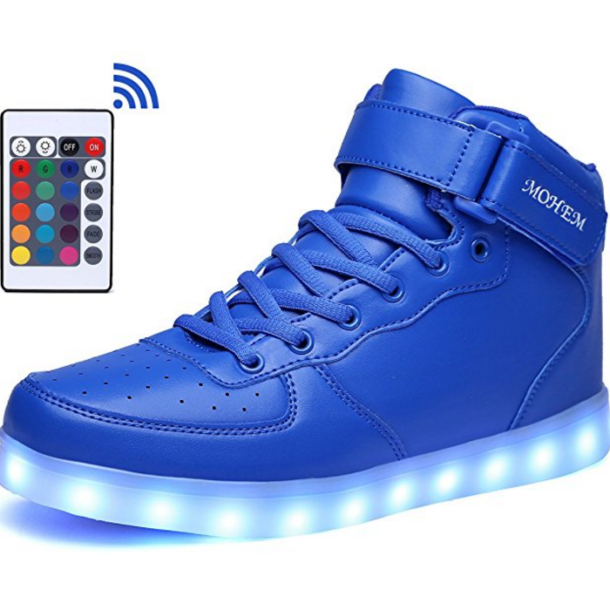 High Top LED Shoes USB Charging Flashing Sneakers with Remote Control - Light Up Footwear.