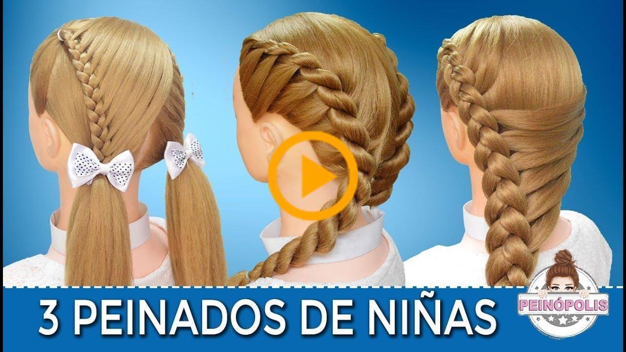 3 Peinados Faciles Y Rapidos De Niñas Con Trenzas Para Fiestas Ir A La Escuela In 2020 Hair Styles Quick Hairstyles Peinados Faciles