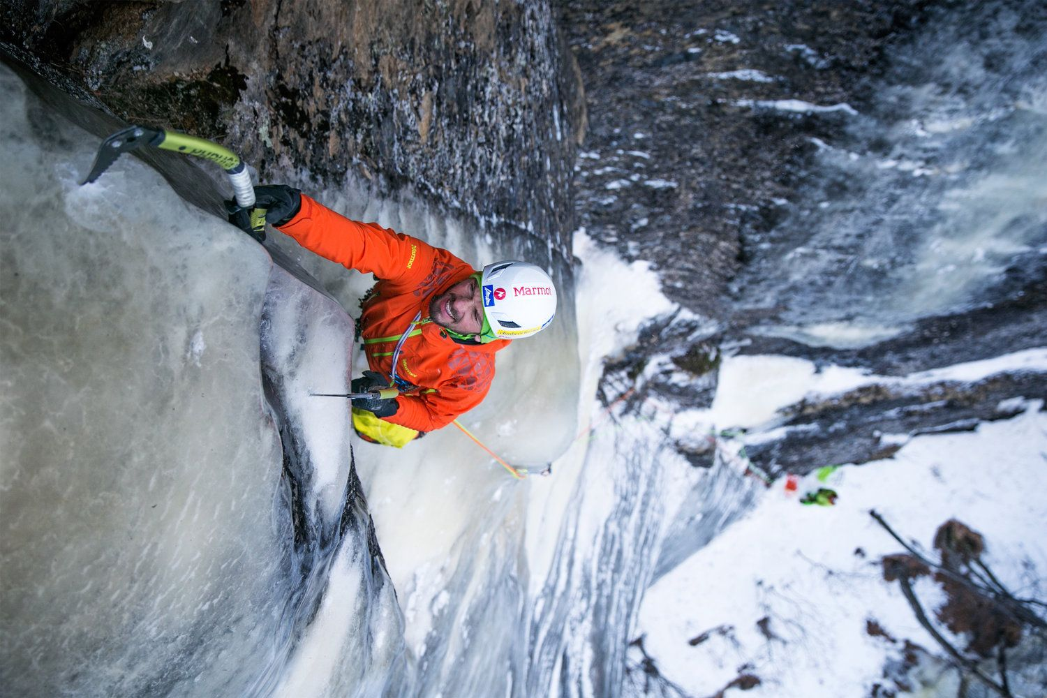 Benedikt Purner enjoys some lean climbing conditions in Norway.