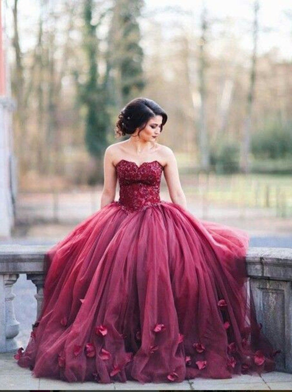 Gorgeous Sweetheart Floor Length Burgundy Organza Wedding Dress