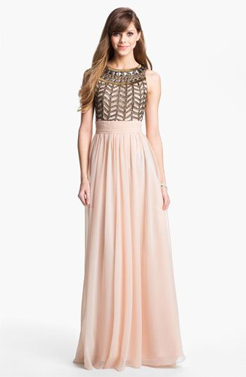 Beaded, Metallic, and Sequined Bridesmaid Dresses | Chiffon gown ...