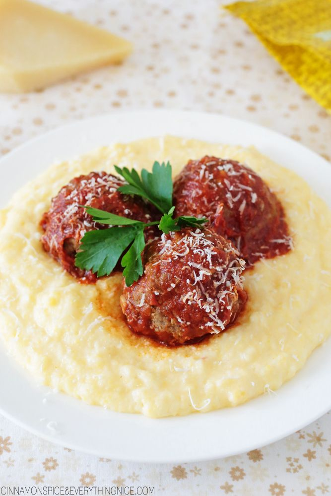 Saucy italian meatballs with cheesey polenta bon app tit for Idee plat a cuisiner