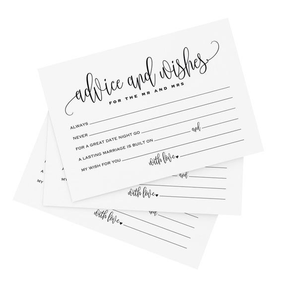 PRINTED Advice and Wishes Cards, Mad Libs, Marriage Advice