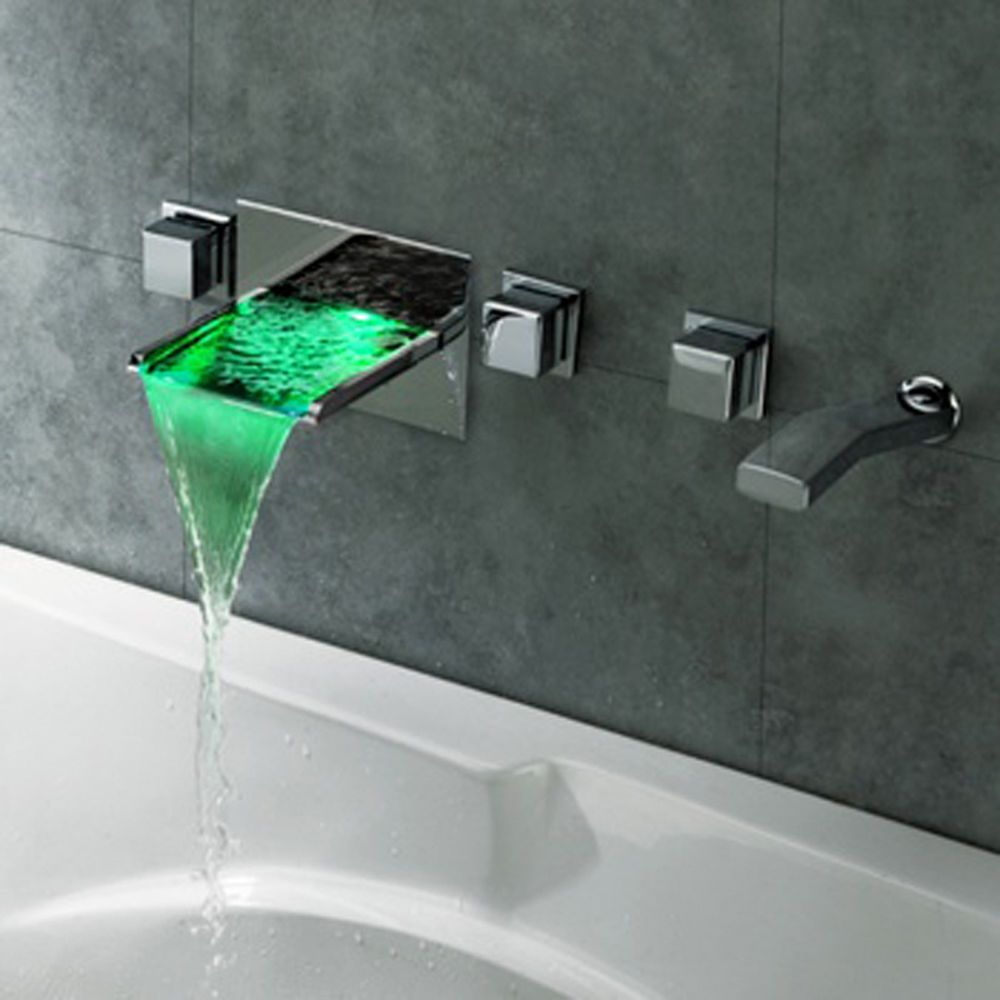 LED Waterfall Tap Wall Mount Bathroom Bath Tub Filler Mixer Faucet ...
