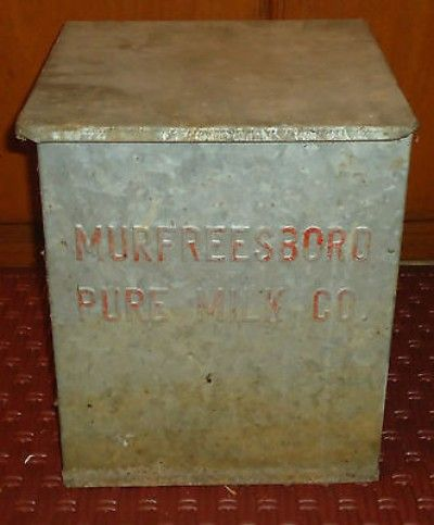Antique Metal Milkman S Milk Bottle Porch Cooler W Hinged Lid Murfreesboro Tn Murfreesboro Eagleville Hinged Lid