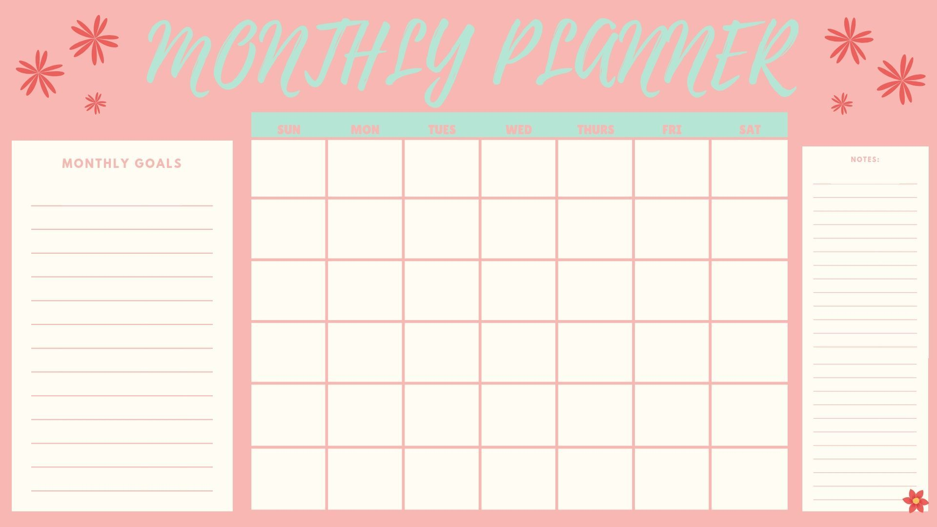 Free Monthly Planner Printable Monthly Planner Printable Free