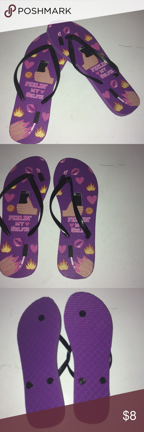 "af894e01331522 Chatties Flip Flops Chatties flip flops with logo ""Feelin My Selfie"" in a  size 10 1 2 which is equivalent to large. Brand new without tags and never  worn."