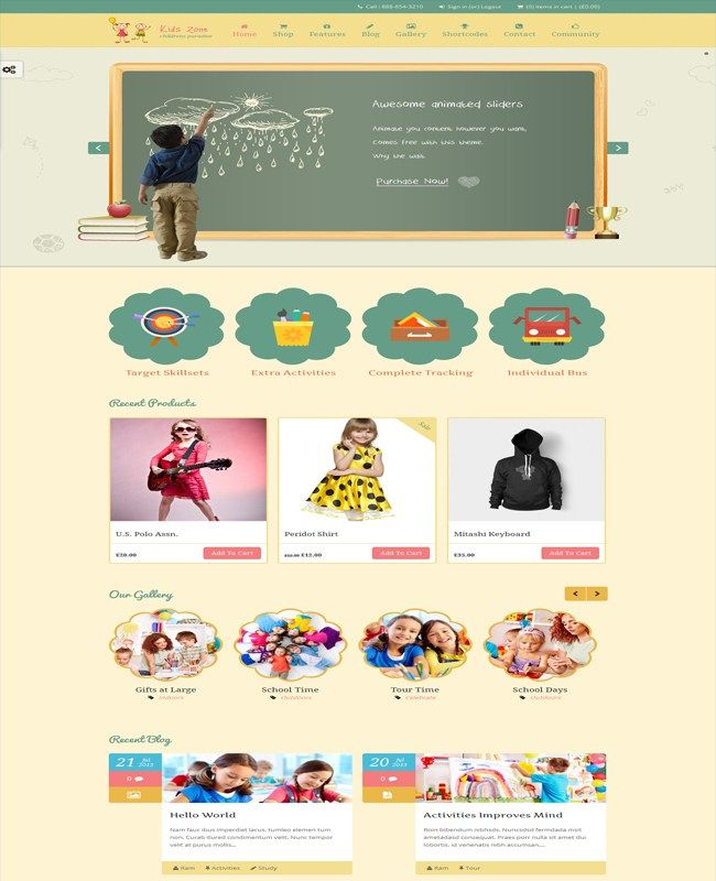 Kids Zone- Preschool Training Center Theme For Children | Wordpress ...