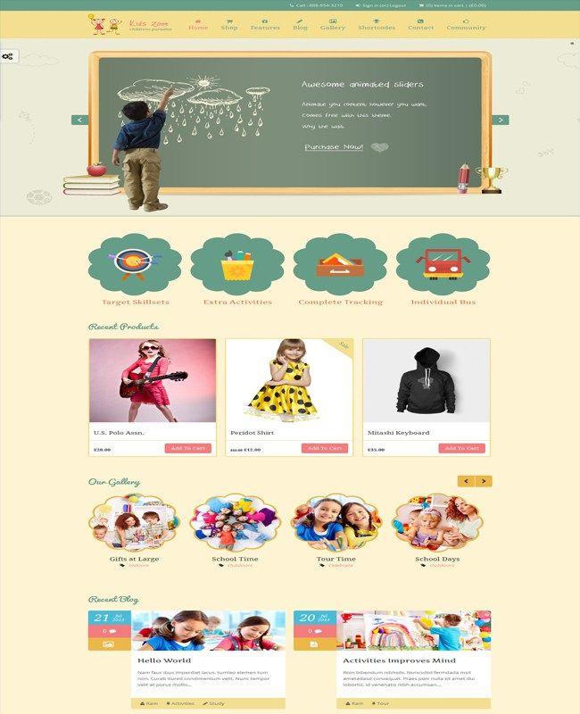 Kids Zone- Preschool Training Center Theme For Children   Wordpress ...