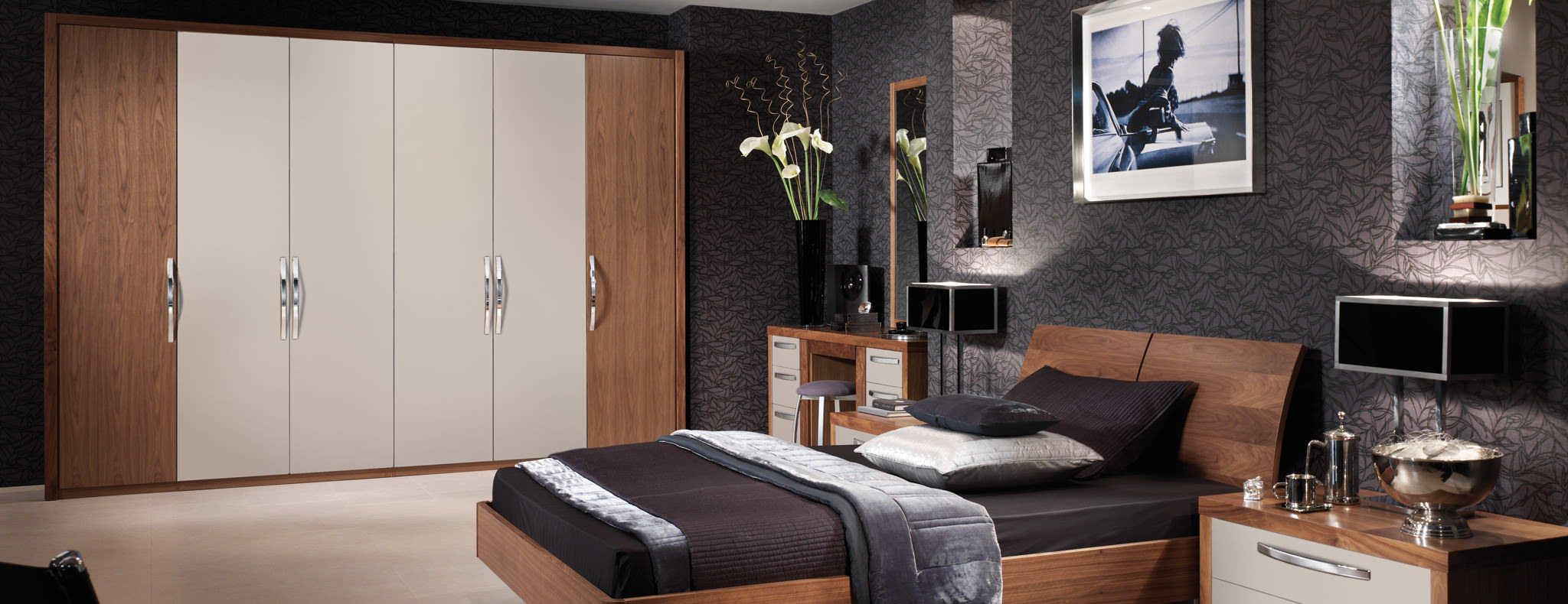 Stylish Bedroom In Cashmere And American Black Walnut By Strachan