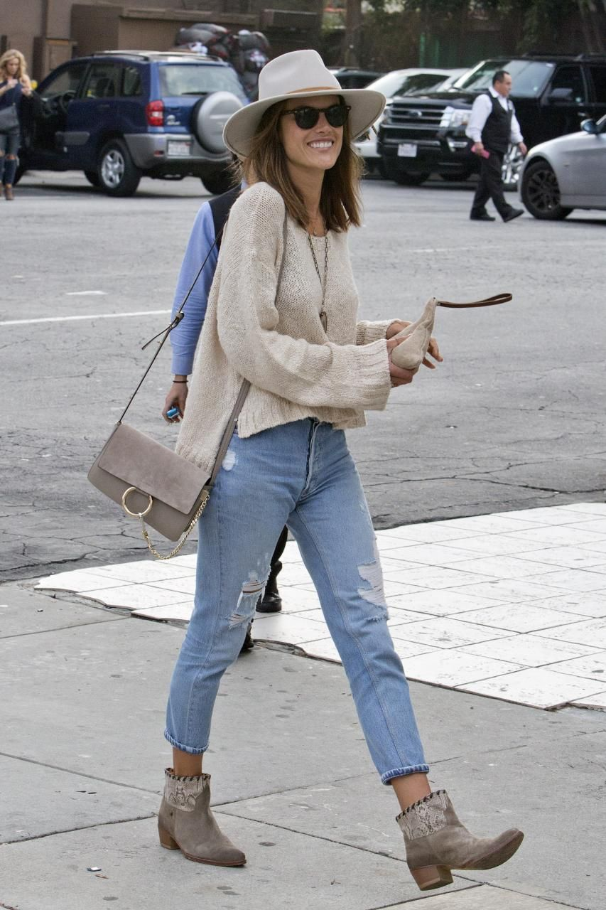 39608282b Alessandra Ambrosio wearing Zadig & Voltaire Midory Lace Boots, Ale by  Alessandra Frangia Clutch and Chloe Faye Bag in Motty Grey