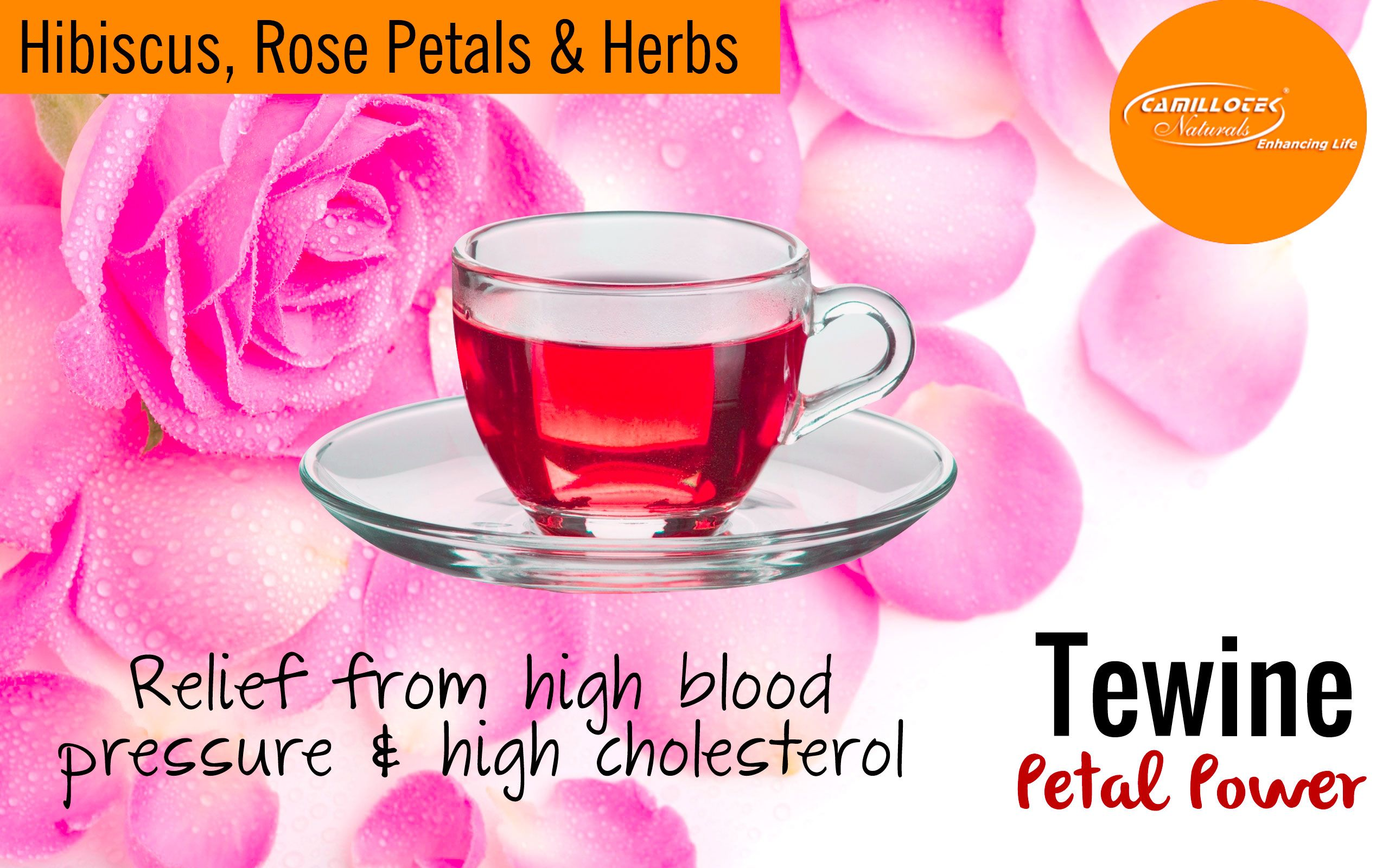 Tewine Hibiscus, Rose Petals & Herbs Blend 100% Natural Tea  Hibiscus tea is ruby red in color and has a exotic taste. No synthetic colors & sugar added for taste and color.  The health benefits of hibiscus tea Rrelief from high blood pressure and high cholesterol, as well as  digestive, immune system, and inflammatory problems.   It helps to cure liver disease and reduces the risk of cancer.   It can also speed up the metabolism and help in healthy, gradual weight loss.