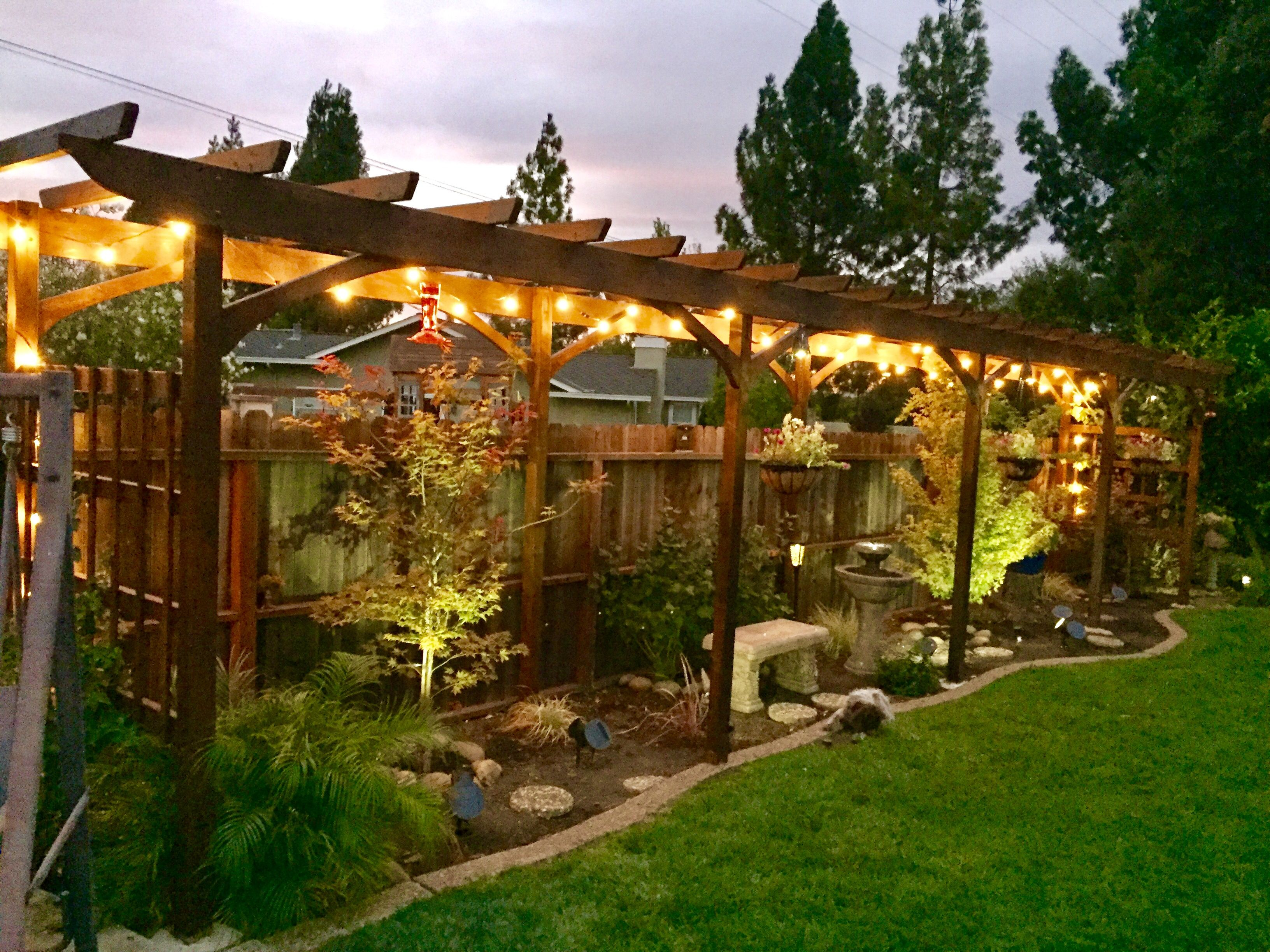 japanese outdoor lighting. Arbor, Backyard Lighting, Japanese Maple, Bench, Fountain, Trellis Outdoor Lighting W