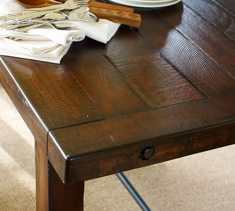 Benchwright Fixed Dining Table   Rustic Mahogany Stain