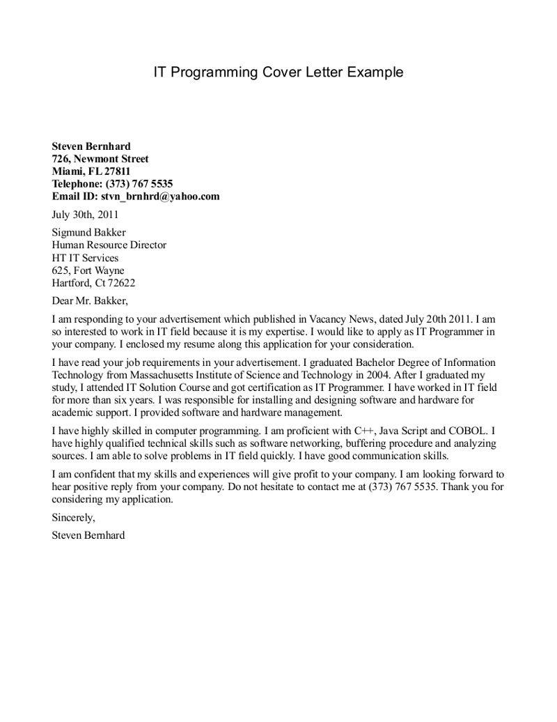 programmer cover letter sample resume format nursing home administrator brilliant ideas for - Cover Letter It