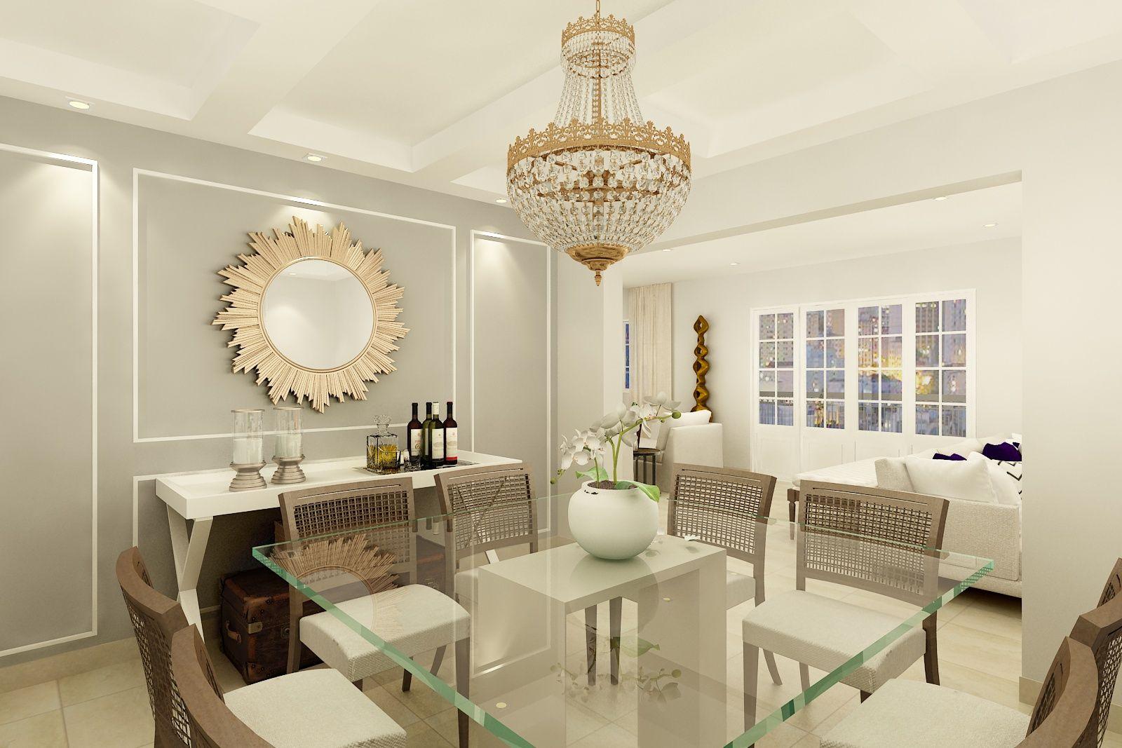 Esta Sala De Jantar Mistura Elementos Cl Ssicos Como O Lustre De  -> Lustre Para Sala De Apartamento