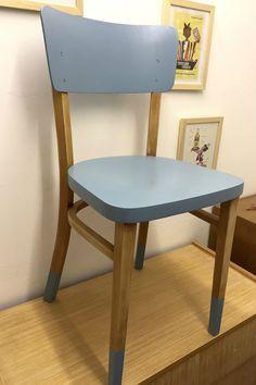 Chaise Bistrot Bois Et Bleu Relooker Mes Meubles Chaise