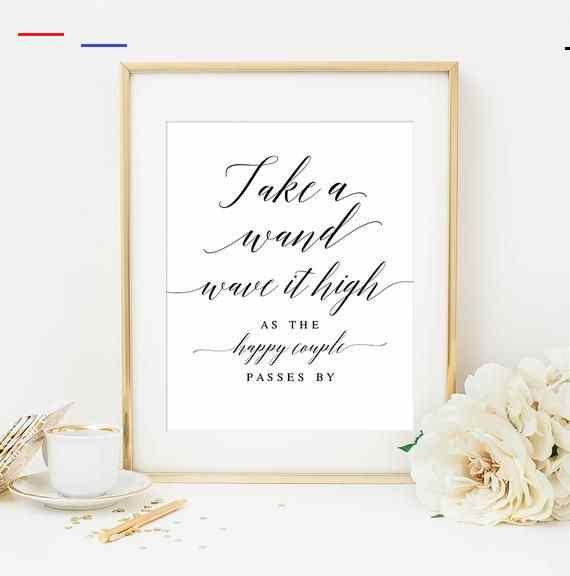 No Ceremony Just Reception: Wedding Wand Sign Wedding Ribbon Wand Sign Wedding