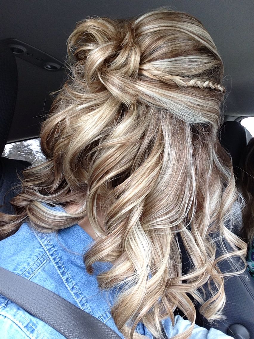 Prom hair curly braid halfup nails hair and makeup