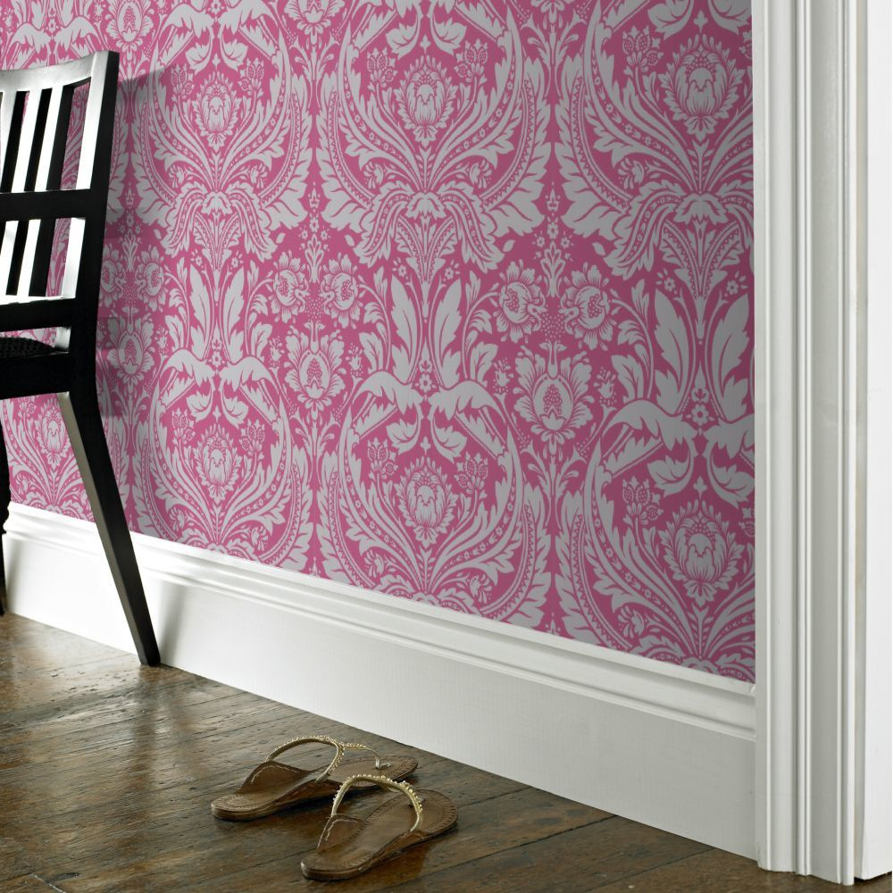 Desire 10m L x 52cm W Damask Roll Wallpaper Pink, grey