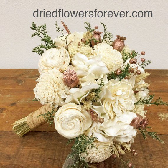 Rose Gold Wedding Bouquet Preserved Dried Flowers Pink Cream